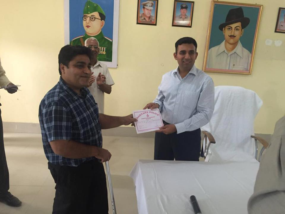 Recognitions received by Our Director Sunil Arora from Shashank Anand  S.P., Jind